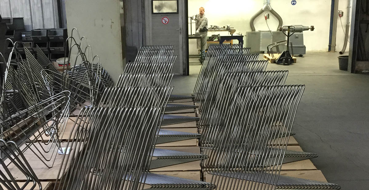 Produktion des Hardoy Butterfly Chairs