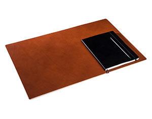 Cognac Deskpad Schreibtischauflage aus Leder Groß