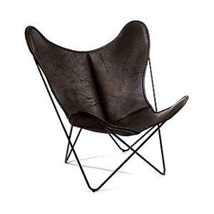Hardoy Butterfly Chair Pure Wild Biobüffel Leder Schwarzbraun