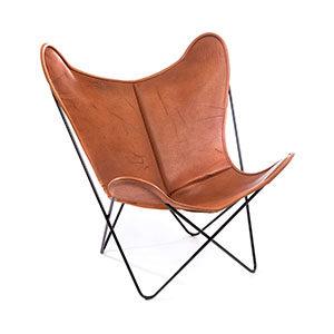 Hardoy Butterfly Chair Pure Wild Biobüffel Leder Cognac